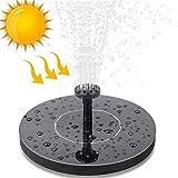 Vivibel Solar Fuente Bomba,Bomba de Flotante Kit Bomba Agua Sumergible Solar con 6 boquillas, Ideal para Pequeño Estanque,estanques,jardín,Piscina,(Negro Redondo)