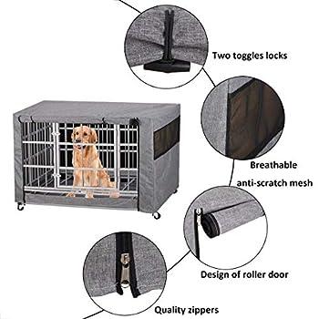 Chengsan Housse pour cage à chien, durable et coupe-vent, pour cage métallique - protection intérieure et extérieure