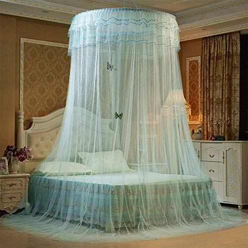 Princess Lace Dome Fantasy Mosquito Netting Hanging Round Canopy Bed Net Height 2.7 m/106 in