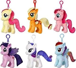 Aurora My Little Pony Friendship is Magic 4.5 Inch Plush Clip On Set of 6 [Rarity, Twilight Sparkle, Applejack, Rainbow Dash, Fluttershy & Pinkie Pie]