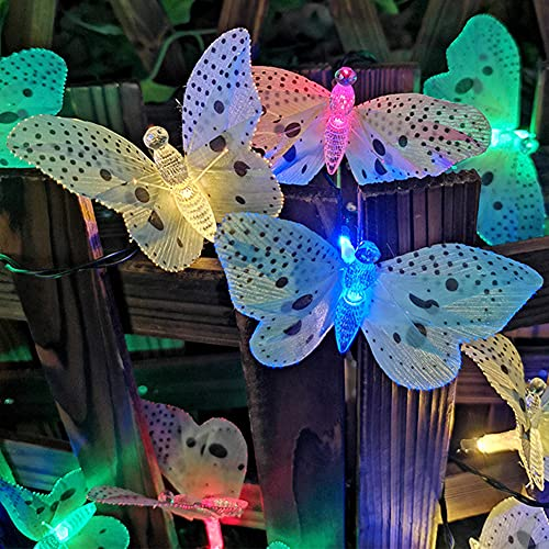 Solar LED Schmetterling Lichterkette Lichterkette wasserdichtes Licht Glasfaser Licht im Freien, verwendet für Urlaub Party Dekoration Garten Villa Terrasse Landschaft(C)