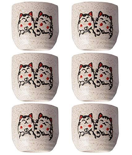 ZJZ Sake Pots Sets,Cute Cat Pattern Serving Gift Sake Cups Set of 6