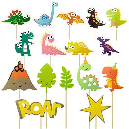 Hangnuo - Decorazioni per cupcake a forma di dinosauro, per alimenti, frutta, pane, cioccolatini