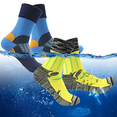 RANDY SUN Calcetines 100% impermeables, unisex, para senderismo y deportes de invierno, Medium, 2 Pares-Amarillo+Azul