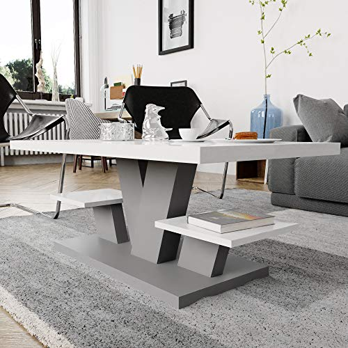 Viosimc Coffee Table for Living Room White & Grey with two shelves, Stylish Modern White Center Table with High Gloss Top for Tea and Coffee.