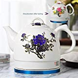 aedouqhr Hervidor eléctrico de cerámica inalámbrico Blanco Tetera-Retro 1l Jarra, 1000w rápido de Agua para té, café, Sopa, Base extraíble de Avena, protección para hervir en seco
