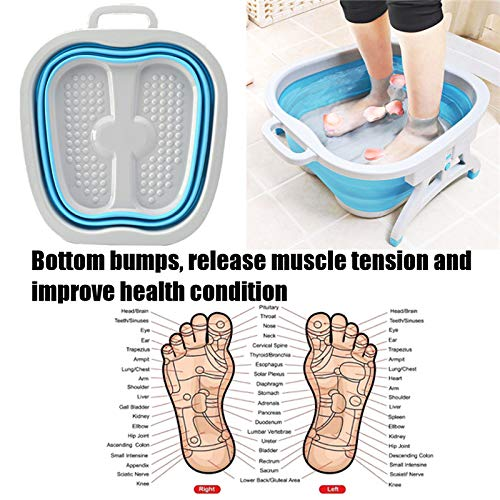 Best Buy! LIBOYUJU Foldable Foot SPA Massage Acupressure Bubble Bucket with Plastic Bracket Foot was...