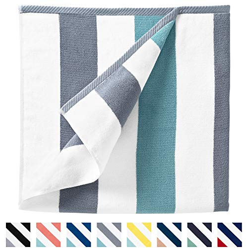 """Cabana Beach Towel by Laguna Beach Textile Co, Oversized Stone and Sea Glass Green Summer Sunbathing and Pool Side Lounge Comfort, Plush Cotton Softness with Colorful Stripes, Large 70"""" x 35"""""""