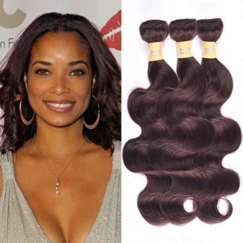 WOME Hair Color #2 Dark Brown Body Wave Human Hair Weave 3 Bundles Peruvian Virgin Remy Hair Wefts Bundles(Mixed Length 10' 12' 14')