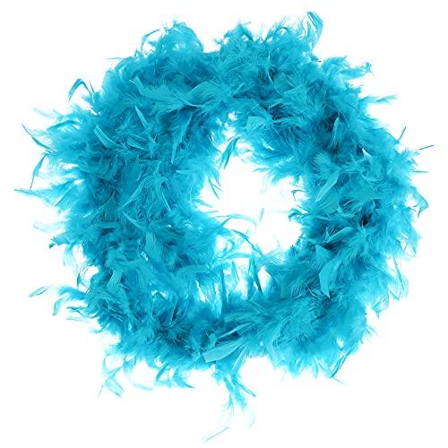 com-four® Boa de Plumas - Boa de Plumas Azul de Primera Calidad para Disfraces Retro - Bufanda de Plumas para Disfraces de los años 20, Fiesta y Carnaval - 180 cm (1 Pieza 180cm 65g Azul)