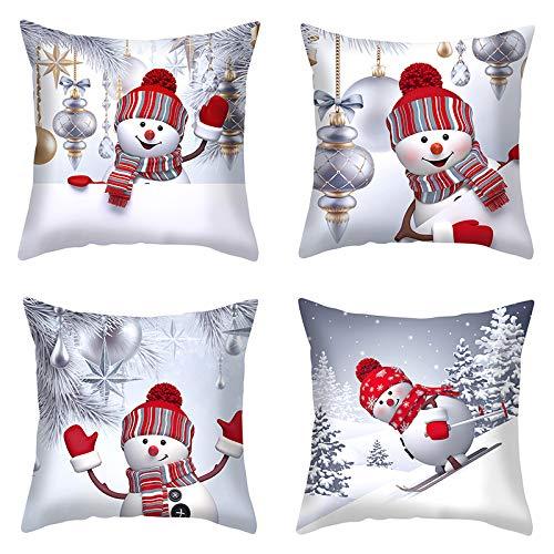 Kissenbezug 45 x 45 cm - Kissenbezug der Weihnachtsserie Kissenbezug quadratischer Kissenbezug mit Reißverschluss Einseitiger Druck Pfirsichhaut-Samt (4 Stück/ohne Kissen
