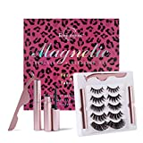 Empureross New Magnetic Eyelashes with Eyeliner Kit, Reusable Eyelashes and Eyeliner with Tweezers, 5 Pairs of False Eyelashes for Daily, Party and Wedding