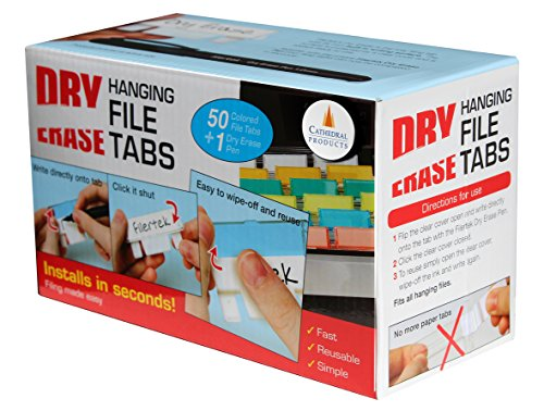 Cathedral Dry Erase Filing Tabs with Pen - Assorted Colour (Pack of 50)