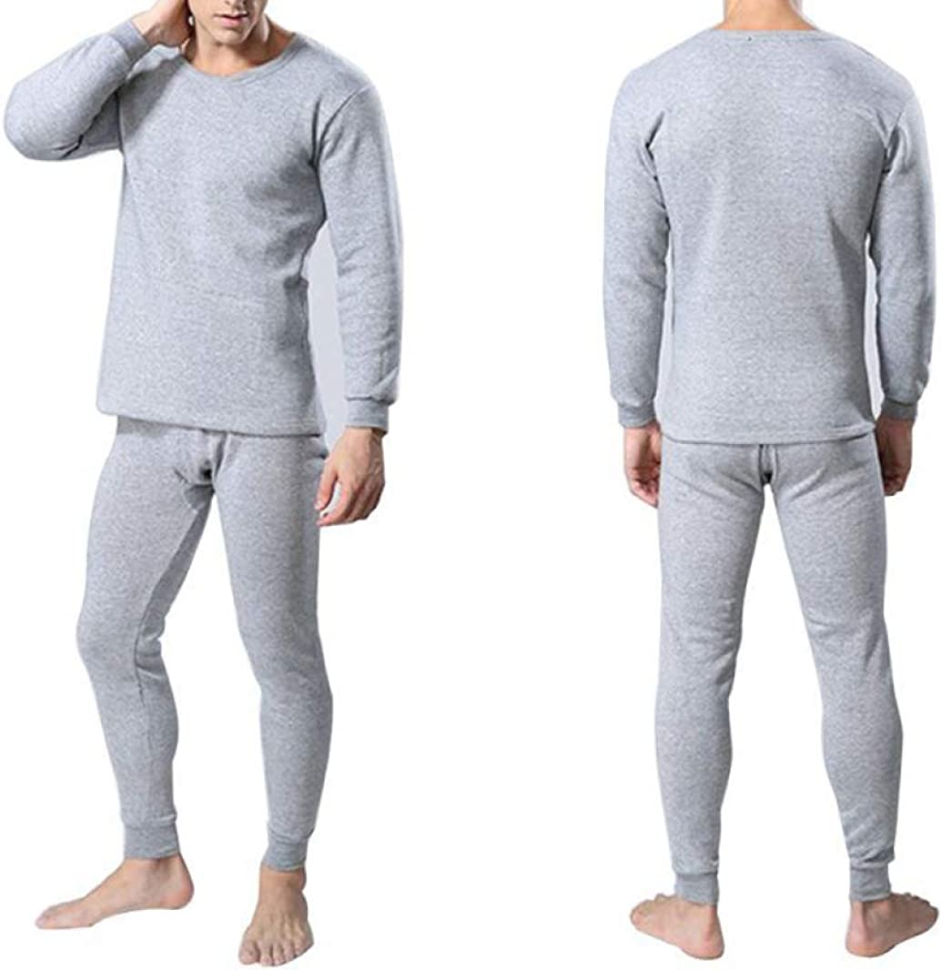 Mens Cotton Thermal Underwear with Fleece Lined Winter Warm Long John Set Base Layer Top and Bottom
