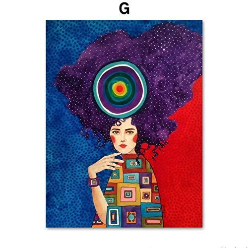 Resumen Moda Vintage Bubble Girl maquillaje Modelo Arte de la pared Pintura de la lona Carteles e impresiones nórdicos Cuadros de pared Para salón de belleza Tienda Decoración para el hogar 50 * 70 cm