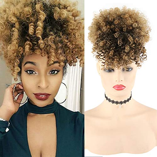 LEOSA Afro Puff Drawstring Ponytail Bun with Bangs Heat Resistant Synthetic Short Kinky Curly Ponytail Updo Hair Extensions with Two Clips,Natural looking Curly Women (#1B/27)