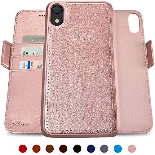 Dreem Fibonacci 2-in-1 Wallet-Case for iPhone XR, Magnetic Detachable Shock-Proof TPU Slim-Case, RFID Protection, 2-Way Stand, Luxury Vegan Leather, GiftBox - Rose-Gold