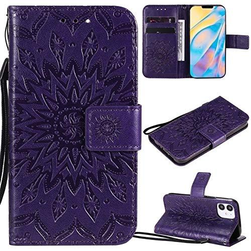 JDDRCASE Caja Protectora de la Cuerda de Seguridad Girasol diseño de la impresión de la PU del tirón del Cuero de la Carpeta for iPhone 12 (6.1 Pulgadas, cámaras duales) (Color : Púrpura)