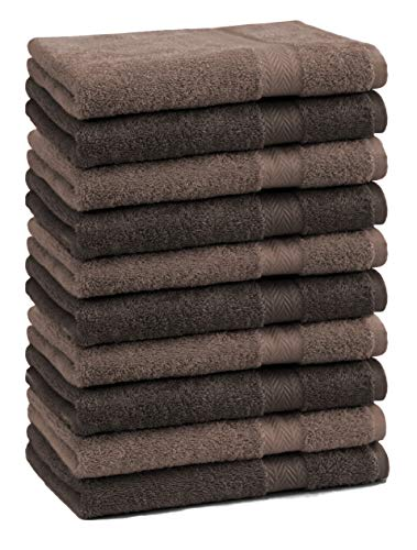 Betz Lot de 10 Serviettes débarbouillettes lavettes Taille 30x30 cm en 100% Coton Premium Couleur Marron Noisette et Marron foncé