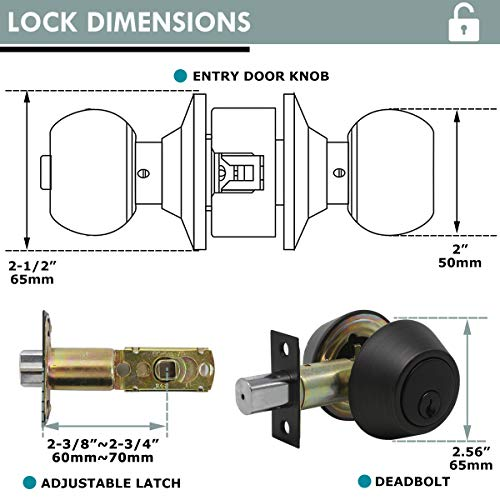 4 Pack Keyed Alike Entry Door Knobs and Single Cylinder Deadbolt Lock Combo Set Security for Entrance and Front Door with Classic Oil Rubbed Bronze Finish