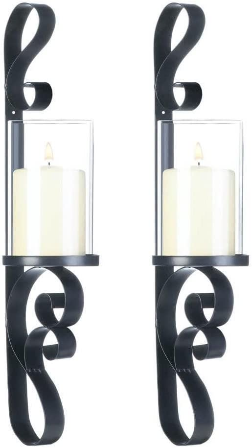 Ornate Candle Wall Sconces Black Ranking TOP5 Iron Set Glass New product!! 2 Hurricane of