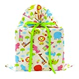 Jungle Animals Reusable Fabric Gift Bag for Baby Shower or Child's Birthday (Large 20 Inches Wide by 27 Inches High, Pale Yellow)