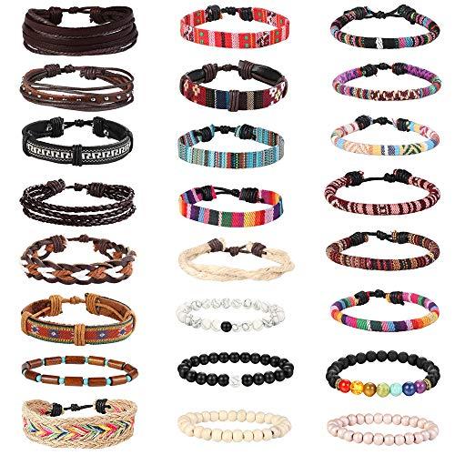 Milacolato 22-24 Stücke Leder Armband Herren Armband Hanf Cords Holzperlen Einstellbar Wrap Armband für Frauen Männer