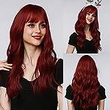 EMMOR Longues peluca roja pour femmes - Perruques synthétiques à cheveux ondulés avec frange (capuchon de perruque gratuit)