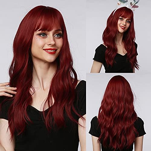 perruque rouge EMMOR longues pour femmes - Perruques synthétiques à cheveux ondulés naturels avec frange (capuchon de perruque gratuit)