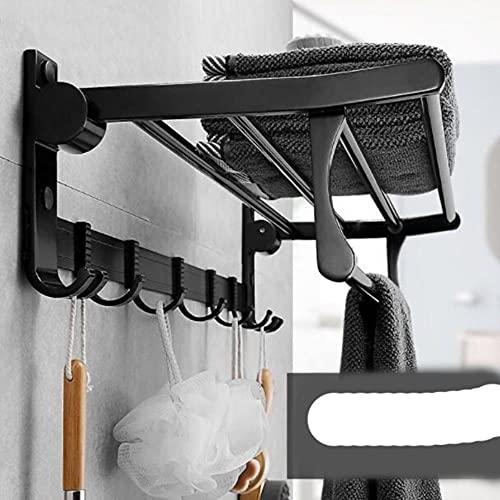 Barras de Toalla de baño Plegables y móviles de 50 CM, Colgador de Organizador de Aluminio para Espacio, Soporte para Toallas de baño, Gancho para estantes, Acceso, Blanco
