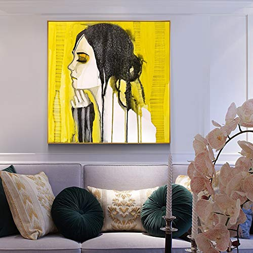 oioiu HD Abstracto Amarillo lágrima Chica póster e impresión Lienzo Pintura decoración del hogar extraño Arte Pintura Sala de Estar Pasillo Dormitorio decoración Pintura de Pared sin Marco