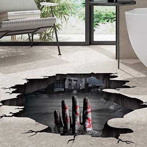 Hunpta @ Halloween Deko Wandaufkleber 3D-Effekt Horror Selbstklebende Fußboden Aufkleber Wandtattoos Wohnzimmer Schlafzimmer Wand Fenster Party Dekoration