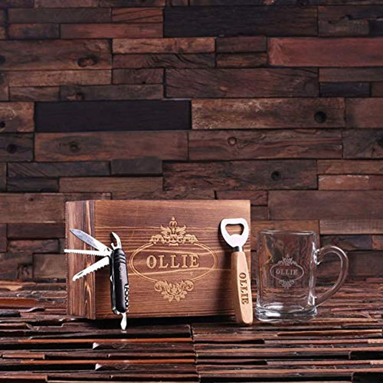4pc Men's Set Personalized Holiday Christmas with Beer Mug, Beer Bottle Opener, Army Knife, Wood Box