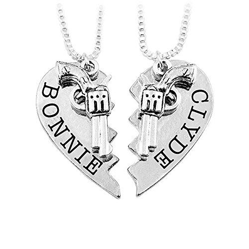 Meiligo Womens Mens Alloy Hip-hop Bonnie Clyde Letter Machine Gun Necklace Key Chain Hand Gun Revolver Pistol Pendant Matching Heart Jewelry (Necklace - Silver(2pcs))