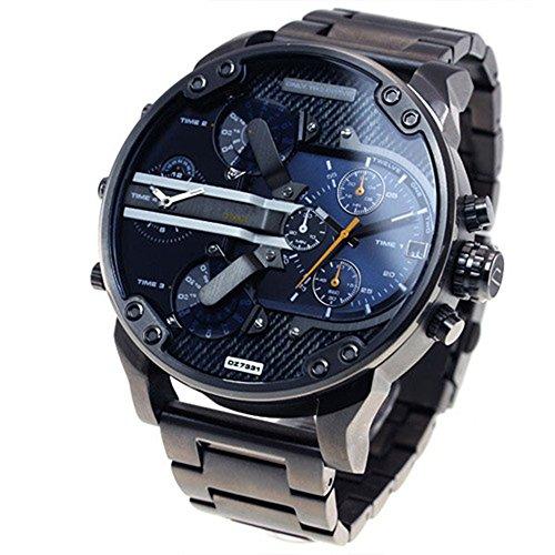 QSXF Herren Quarzuhr Edelstahlarmband großes Zifferblatt 55mm Casual Fashion Outdoor Persönlichkeit Uhr, F