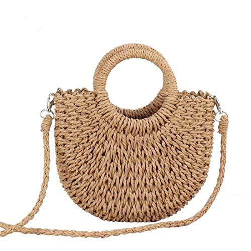 KYHS - Bolso de mimbre semicircular hecho a mano para mujer, material ecológico, bolsa de hombro, bolsa de mensajero, color marrón