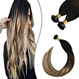 Ugeat Flat Tip Extensiones Keratina Pelo Natural #1b/4/27 Negro con Castano y Rubio Pre Bonded Remy Human Hair Extensions 50GR 22'