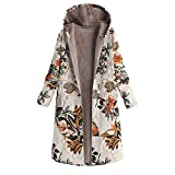 OSYARD Damen Jacken Mäntel Winterparka, Frauen Winter Warm Outwear Vintage Blumendruck Baumwollemäntel Mit Kapuze Taschen Wollmantel Oversize Lang Strickmantel Cardigan Wärmemantel...