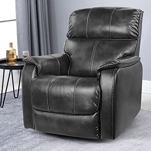 OT QOMOTOP Fabric Recliner Chair Sofa, Rocker Recliner Chair Manual Control, Single Rocking Recliner Chair Ergonomic Lounge Chair for Living Room/Home Theater (Grey)