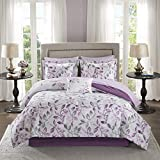 Madison Park Essentials Cozy Bed in A Bag Comforter with Complete Cotton Sheet Set-Trendy Floral Design All Season Cover, Decorative Pillow, Queen(90'x90'), Lafael, Leaf Purple 9 Piece