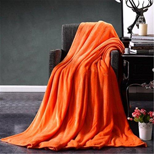 Iusun Super Soft Flannel Blanket Solid Micro Plush Fleece Blanket Throw Rug Sofa Bedding Warm (19.7x27.5, Orange)
