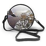 TURFED Flying Eagle Fashion Round PU Crossbody Handbag Round Shoulder Bag para mujeres niñas