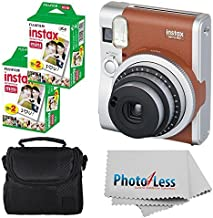Fujifilm INSTAX Mini 90 Neo Classic Instant Camera (Brown) With 2x Fujifilm Instax Mini 20 Pack Instant Film (40 Shots) + ...