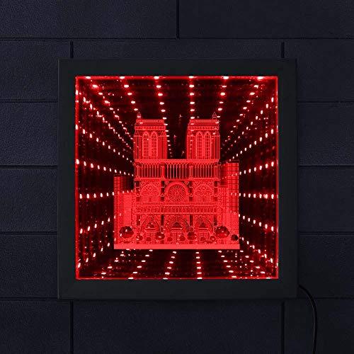 Catedral francesa de parís led vortex interestelar túnel led espejo infinito marco de madera francia parís souvenir travel-8_inch