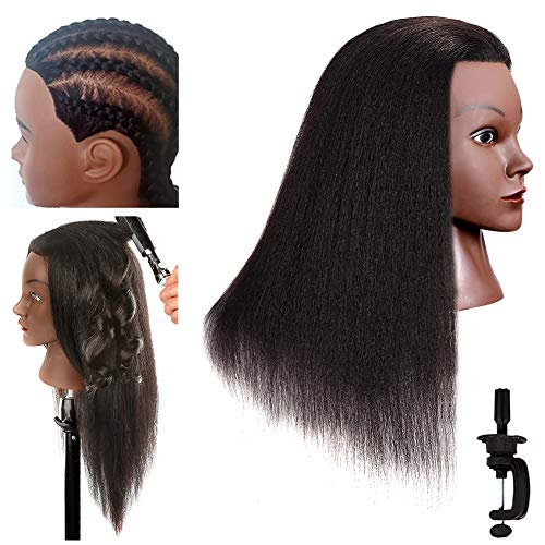 Wicky Mannequin Head with Human Hair 16Inch Natural Long Hair Real Afro 100% Human Hair Hairdresser Cosmetology Mannequin Manikin Training Practice Doll Head for Hairstyling