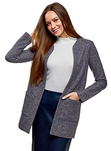oodji Ultra Mujer Cárdigan de Tejido Texturizado con Bolsillos de Parche, Azul, ES 44 / XL