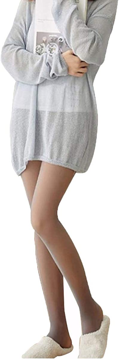Fake Translucent Warm Pantyhose Leggings Slim Stretchy Opaque Soft Tights for Winter Outdoor (Black Pantyhose With Fleece)