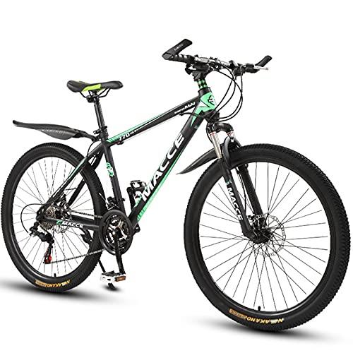 PBTRM Bikes Bicicleta Montaña 26 Pulgadas, Horquilla Suspensión, Freno Disco Doble, Bicicleta Antideslizante, MTB Urbana para Adultos O Adolescentes para Uso En Exteriores,Verde,24 Speed