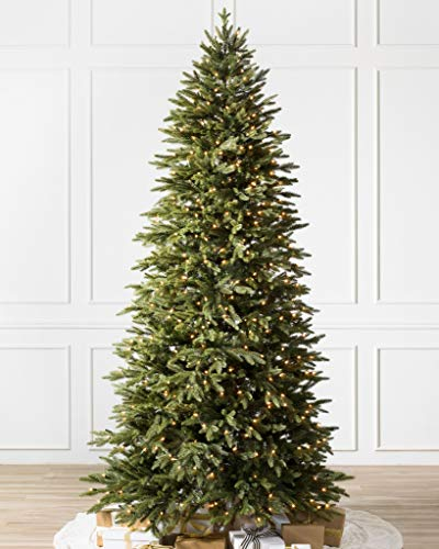 Balsam Hill 7ft Premium Prelit Artificial Christmas Tree Silverado Slim with Clear LED Lights, Easy Plug, Storage Bag, and Fluffing Gloves
