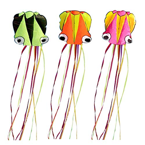 "Set of 3 Large 157.5"" High Cartoon Big Round Eyes Octopus Kites with Colorful Ribbon and Kite Board with 98.4 Foot String for Kids Toy Enjoy Parent-Child Time Beach Park Outdoor"